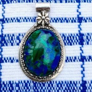 Vintage Sterling Silver Azurite Malachite Pendant